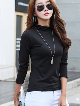 Ericdress High Neck Slim Solid Color T-shirt