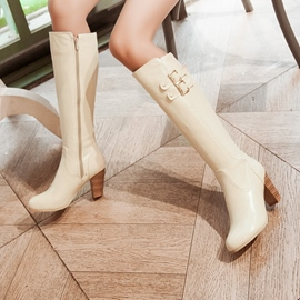 Ericdress Plain Buckle Chunky Heel Knee High Boots