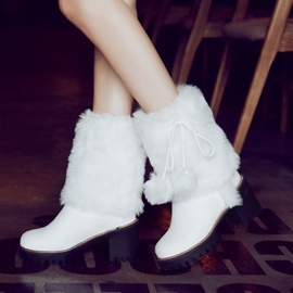 Ericdress Fuzzy Pompon Slip-On Women's Winter Boots
