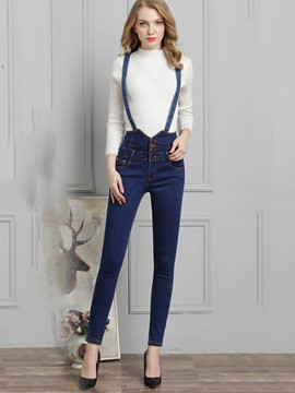 Ericdress Denim High-Waist Women's Suspender Trousers