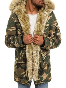 Ericdress Cmouflage Faux Fur Thicken Men's Winter Coat