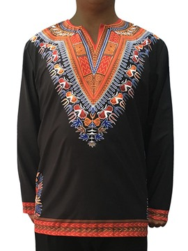 Ericdress African Fashion Dashiki Color Block V-Neck Unique Men's T-Shirt