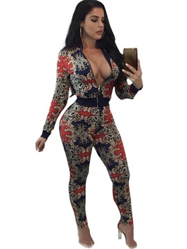 Ericdress Ethnic Style Print Jacket and Pants Women's Suit