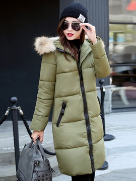 Ericdress Thick Mid-Length Zipper Hooded Coat