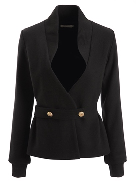 Ericdress Slim Plain Double-Breasted Jacket