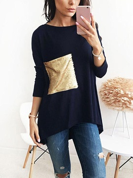 Ericdress Loose Mid-Length Sequin T-shirt
