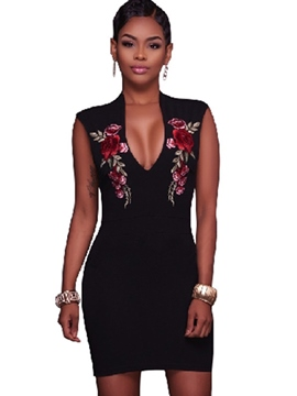Ericdress V-Neck Embroidery Above Knee Bodycon Dress