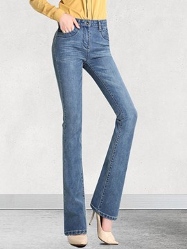 Ericdress Slim Mid-Waist Denim Women's Bellbottoms