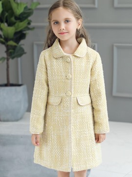 Ericdress Simple Lapel Single-Breasted Girl's Coat