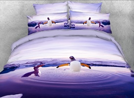 Vivilinen 3D Penguins Playing in Water Printed 4-Piece Bedding Sets/Duvet Covers