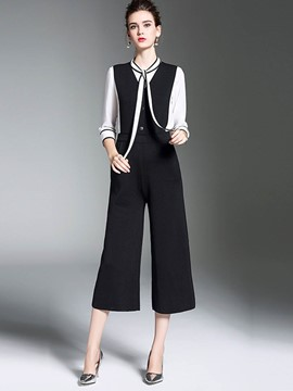 Ericdress Wide Leg Dress Pants and Shirt Women's Suit