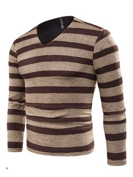 Ericdress V-Neck Stripe Long Sleeve Men's Sweater