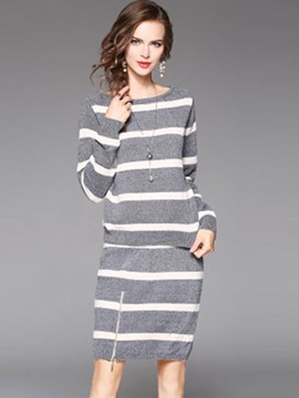 Ericdress Stripe Pullover and Skirt Women's Suit