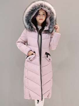 Ericdress Thick Long Zipper Hooded Coat