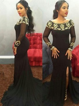 Ericdress Long Sleeve Off The Shoulder Beaded Mermaid Evening Dress With Slit