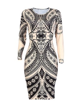 Ericdress Geometric Print Long Sleeve Bodycon Dress