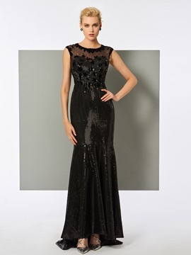 Ericdress Mermaid Cap Sleeve Sequin Long Evening Dress