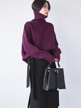 Ericdress Oversized Turtleneck Plain Sweater