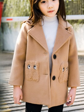 Ericdress Notched Lapel Single-Breasted Girl's Wool Blends Coat