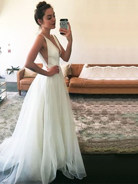 Ericdress V Neck A Line Tulle Wedding Dress