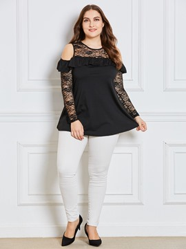 Ericdress Plain Lace Hollow T-shirt