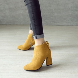 Ericdress Plain Lace-Up Chunky Heel Women's Boots