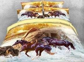 Vivilinen 3D Running Brown Horse Printed 4-Piece Bedding Sets/Duvet Covers