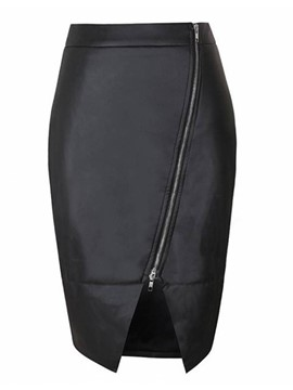 Ericdress PU Knee-Length Women's Skirt