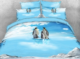 vivilinen 3d penguin family on ice set de literie / housses de couette