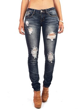 Ericdress Slim Denim Mid-Waist Ripped Women's Jeans