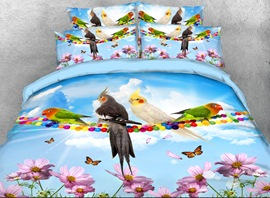 Vivilinen 3D Parrots and Butterflies Printed 4-Piece Bedding Sets/Duvet Covers