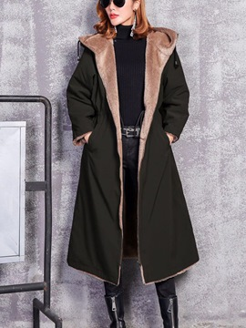 Ericdress Loose Thick Long Zipper Coat