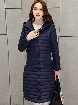 Ericdress Plain Long Letter Zipper Thick Coat