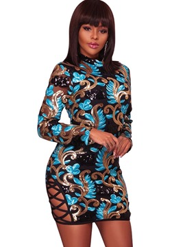 Ericdress Hollow Sequin Stand Collar Bodycon Dress