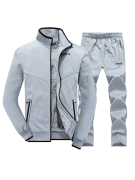 Ericdress Plain Zipper Fleece Lined Men's Sports Suit