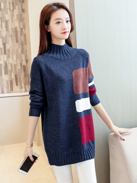 Ericdress Color Block Turtleneck Mid-Length Sweater