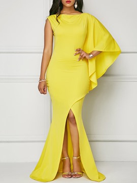 Ericdress One-Shoulder Asymmetric With Side Slit Maxi Dress