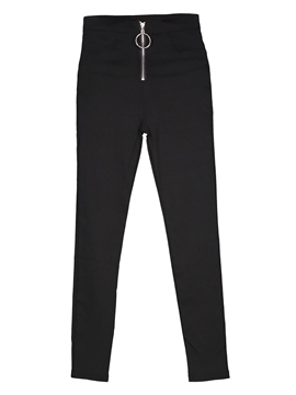 High-Waist Thin Plain Zipper Women's Leggings