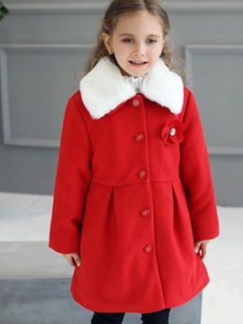 ericdress col en fourrure à col simple manteau de laine épaisse fille