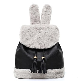 Ericdress Lovely Rabbit Ear Shape Soft Plush Backpack