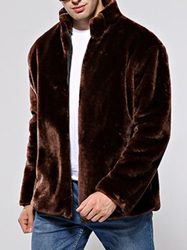 Ericdress Stand Collar Zipper Up Men's Faux Fur Coat