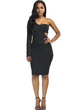 Ericdress Holow One-Shoulder Long Sleeve Bodycon Dress