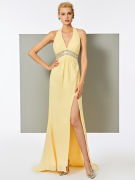 Ericdress A Line Halter V Neck Beaded Evening Dress With Side Slit