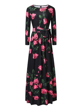 Ericdress Scoop Floral Print Lace-Up Maxi Dress