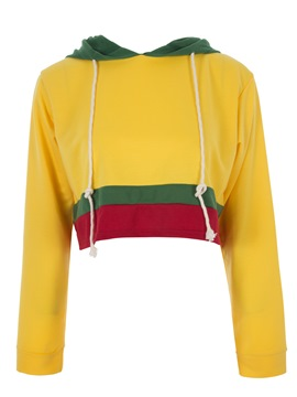 Ericdress Drawstring Color Block Pullover Women's Hoodie