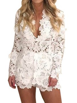 Ericdress Lace V-Neck Tops and Shorts Women's Suit