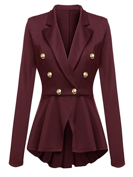 Ericdress Plain Double-Breasted Mid-Length Long Sleeve Blazer