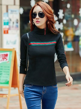 Ericdress Stripe Turtleneck Slim T-shirt