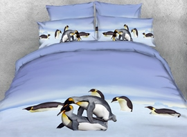 Vivilinen 3D Penguins Playing in Snow Printed 4-Piece Bedding Sets/Duvet Covers