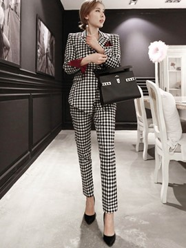 Ericdress Plaid Blazer and Pants Women's Suit